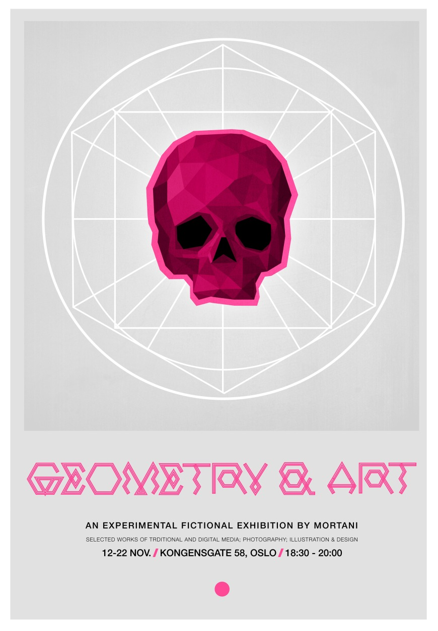 geometry geometric skull poster pink mortani